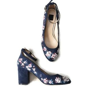 WHBM Blue Suede Floral Embroidered